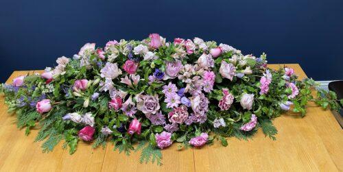 Lilac Coffin Spray 5ft - Brunels Funeral Directors