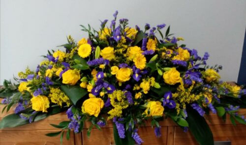 Purple & Yellow Spray - Brunels Funeral Directors