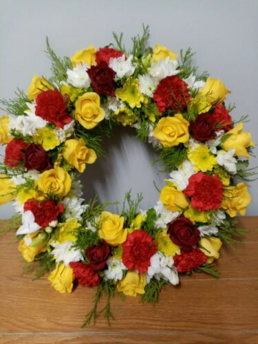 Red Yellow White Loose Wreath - Brunels Funeral Directors