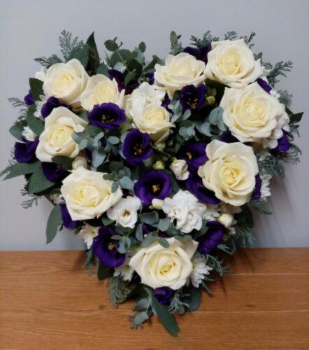 Small Purple & White Heart - Brunels Funeral Directors
