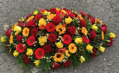 Yellow & Red Bouquet - Brunels Funeral Directors