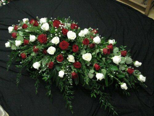 Red & White Rose Spray - Brunels Funeral Directors