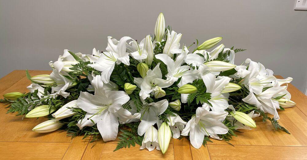 White Lily Coffin Spray