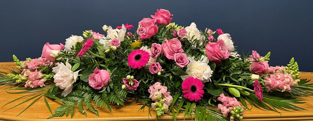 Peony and Rose Coffin Spray