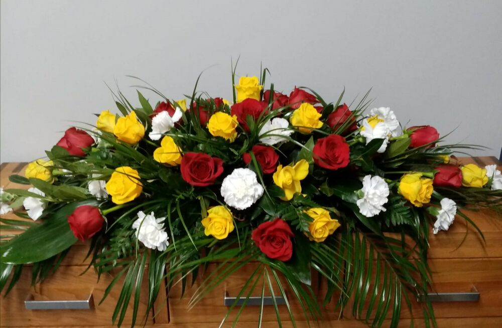 Red, Yellow and White Coffin Spray